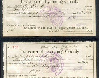 Two 1920's Antique Receipts / Treasurer of Lycoming County, Pennsylvania / Vintage Paper Ephemera / Collage, Decoupage, Visual Journals, ATC