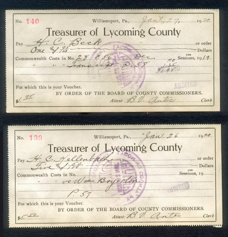 Two 1920's Antique Receipts  Treasurer of Lycoming image 0