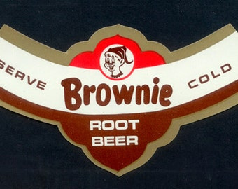 Four 1950's - 1960's Brownie Root Beer Labels / Vintage Paper Ephemera / Collage, Decoupage, Mixed Media, Artist Trading Cards, Altered Art