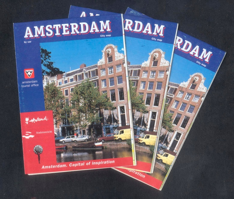3 Maps of Amsterdam City  Great for Collage Decoupage Gift image 0