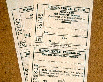Vintage Train Tickets / Illinois Central Railroad / Railway Ephemera for Collage, Embellishments, Scrapbooks, Visual Journals, Collections