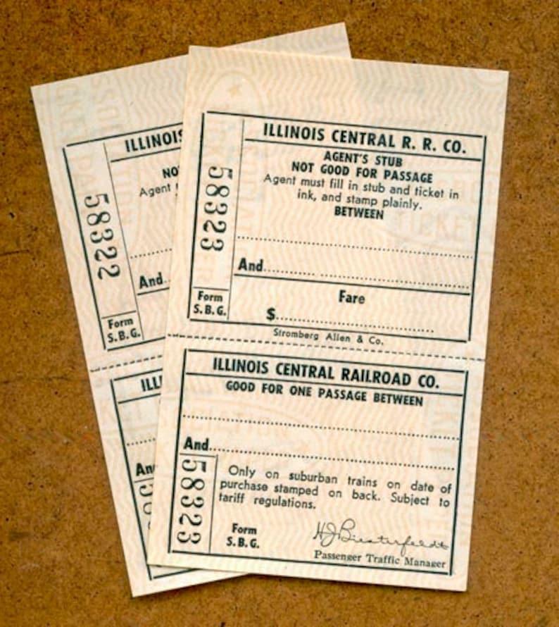 Vintage Railway Tickets / Illinois Central Railroad / Railway image 0