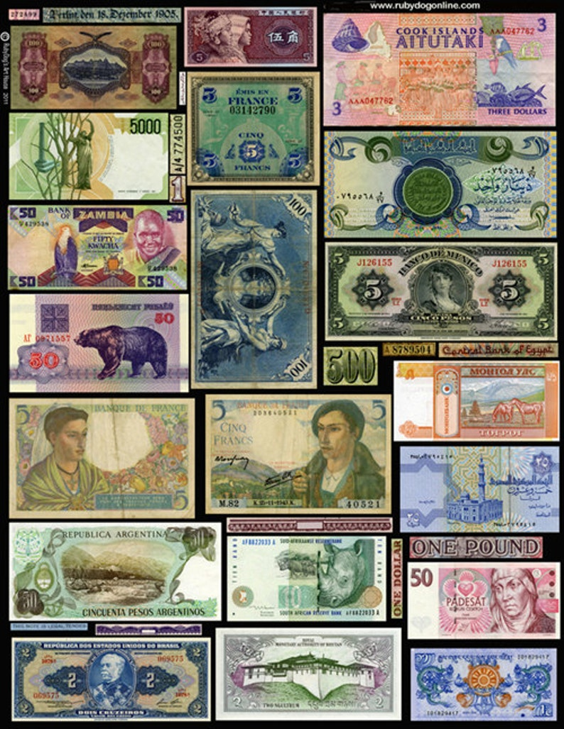 Collage Sheet  Old Currency Banknotes  Collage Decoupage image 0