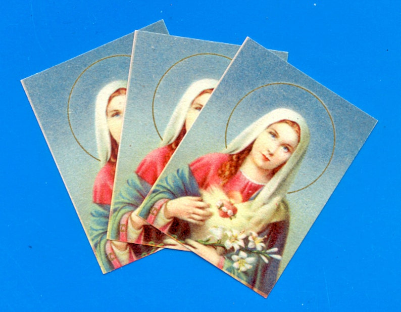 Mid-Century Virgin Mary Cards  Printed in Italy image 0