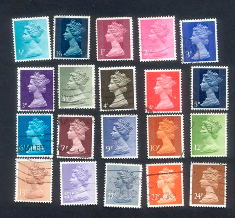 20 Queen Elizabeth 1960's Postage Stamps / Collage image 0