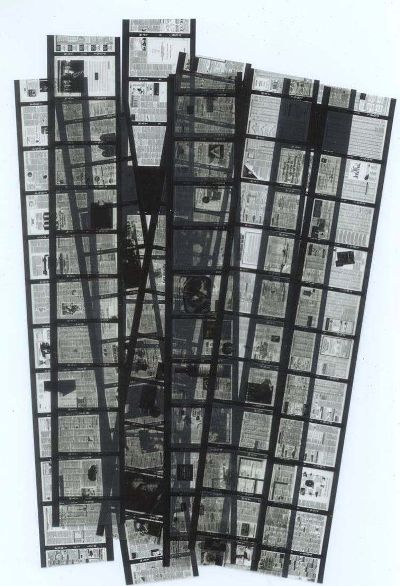 Microfilm of Tiny Newspapers / Black Grey Blue / Collage image 0