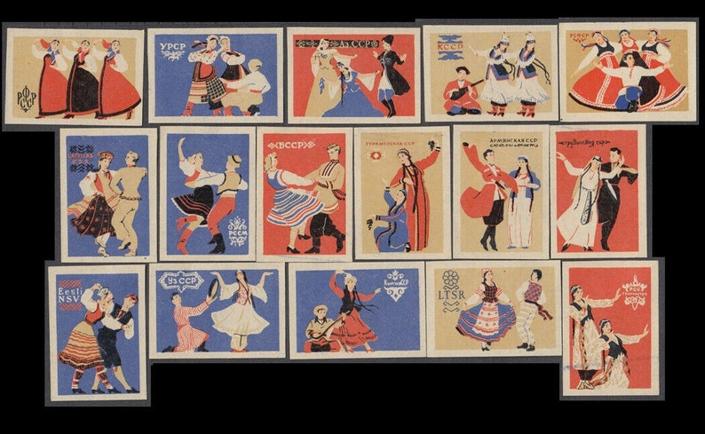 Traditional Russian Dances on Vintage USSR Matchbox Labels / image 0