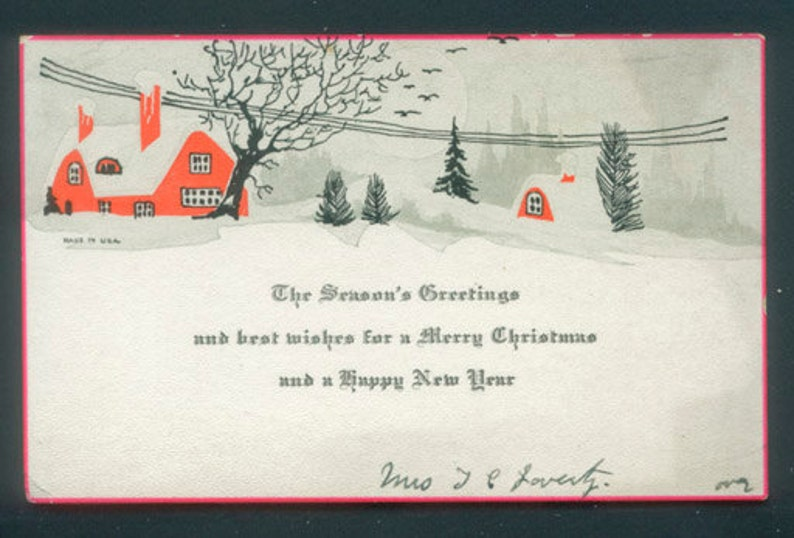 Antique Christmas Postcard / ca 1930 Winter Snow Scene / image 0