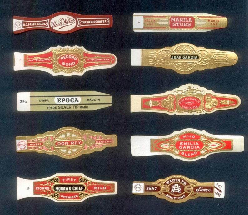 10 Vintage Cigar Bands / Old Paper Ephemera for Decoupage image 0
