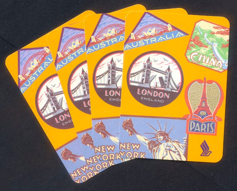 Four Travel Theme Playing Cards  Paris China London New image 0