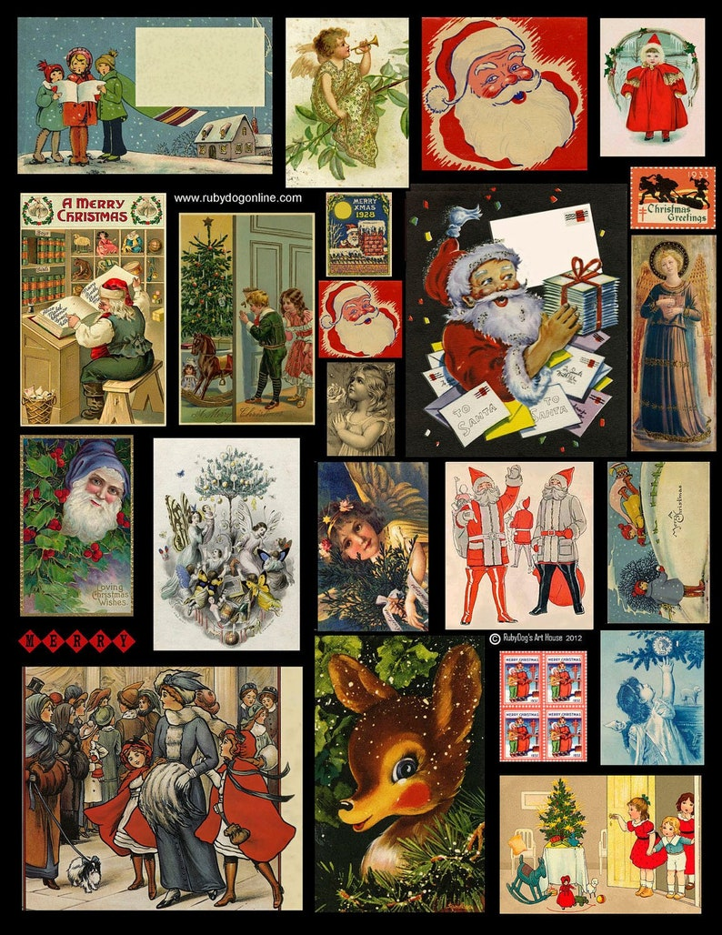 Christmas Collage Sheet / Vintage Images Santa Claus Angel image 0
