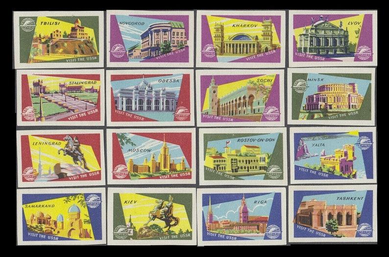 Visit the USSR / Vintage Soviet Matchbox Labels / Colourful image 0