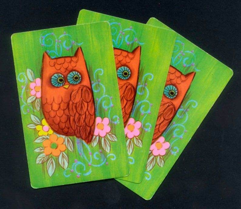 Colourful Retro Owl Playing Cards / Vintage 1960's or image 0
