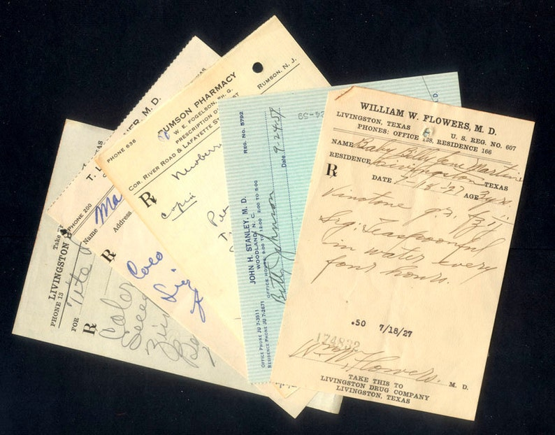 Vintage Doctor Prescriptions / 1920's to 1960's / image 0