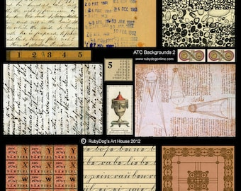 Collage Sheet - Handwriting, Library Date Stamps, DaVinci Diagrams, etc.