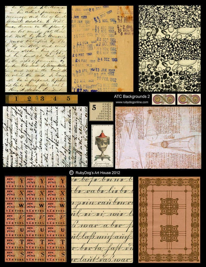 Collage Sheet / Antique Handwriting Vintage Library Date image 0