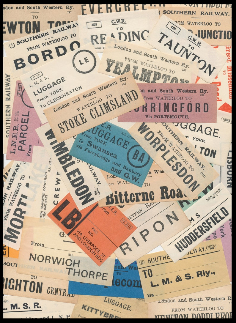 Early 1900's Luggage Labels / Vintage Paper Ephemera / image 0
