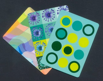6 Patterned Playing Cards / Colourful Designs for Artist Trading Cards, Collage, Mixed Media, Altered Books, Junk Journals, Smash Books, ATC