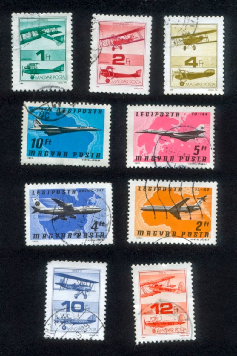 Airplane Postage Stamps from Hungary  Decoupage Collage image 0
