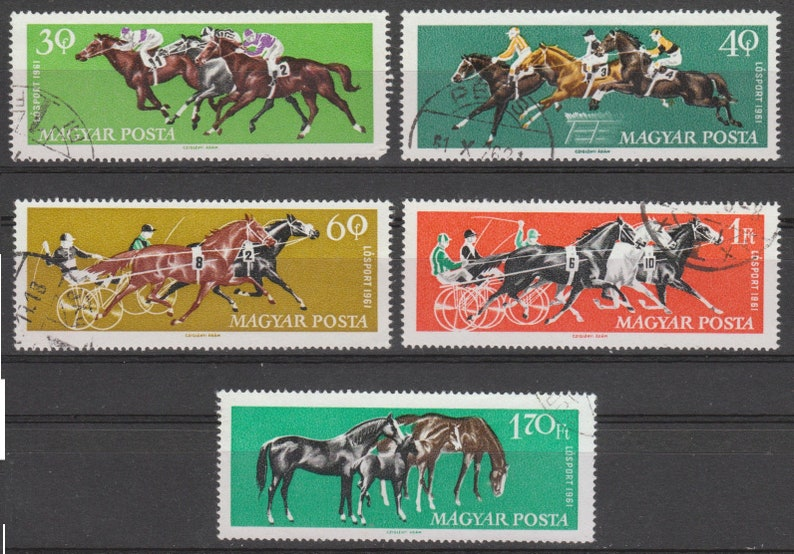 Horse Racing Postage Stamps  1961  Hungary  Decoupage image 0