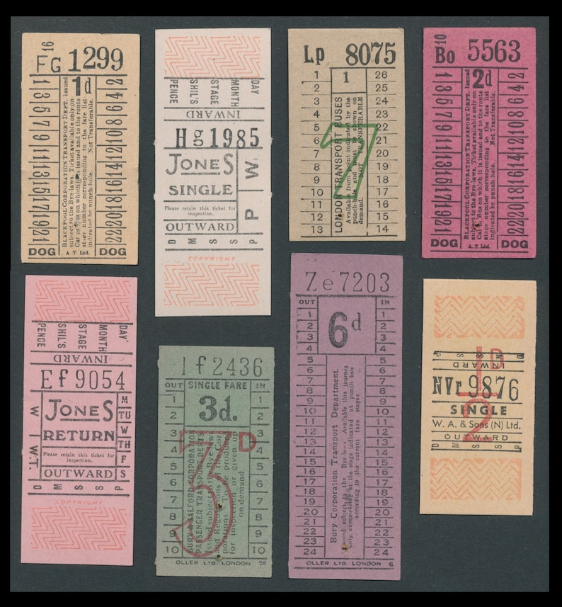 Vintage British Bus Tickets / England Transport Railway / image 0