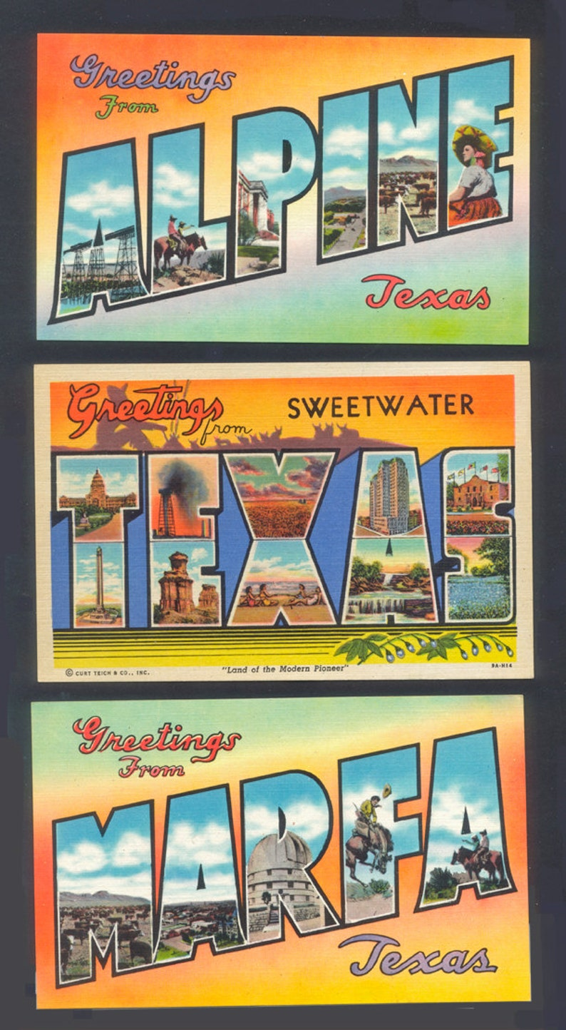 1940's Linen Postcards  /  Big Letter Greetings From Texas image 0