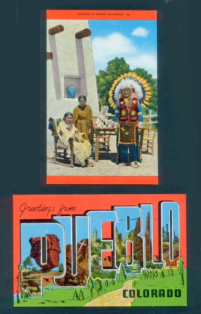 Two Vintage Greetings From Pueblo / Indians Chief In Scenic image 0