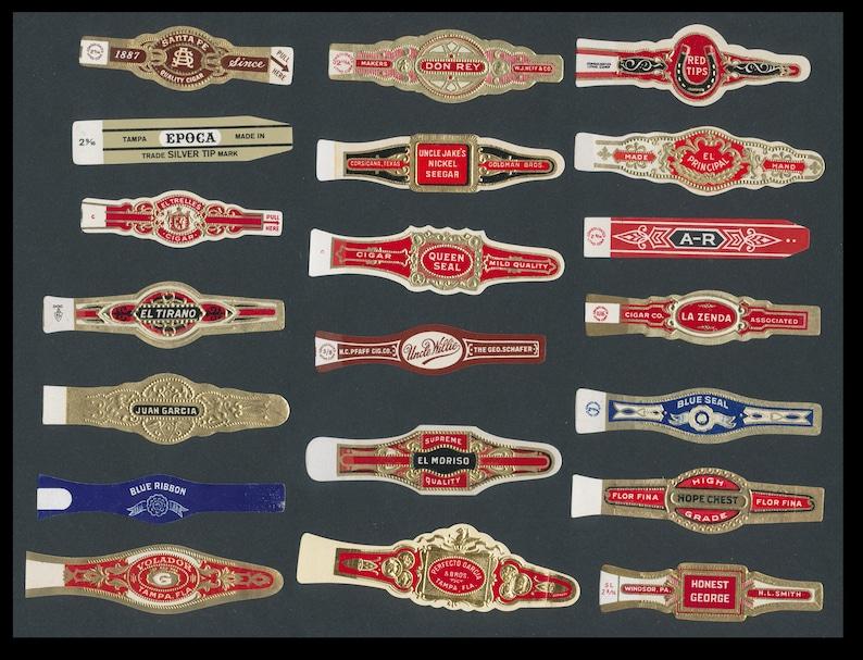 20 Vintage Cigar Bands / Gorgeous Detail / Perfect Labels for image 0