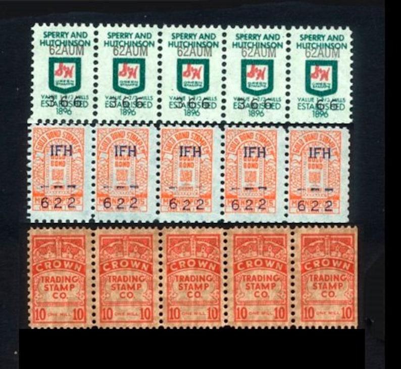 30 Vintage Trading Stamps / Retro Grocery Ephemera / Green image 0