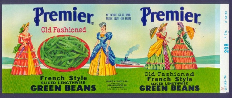 Beautiful 1940's Tin Can Label  Women with Old Fashioned image 0