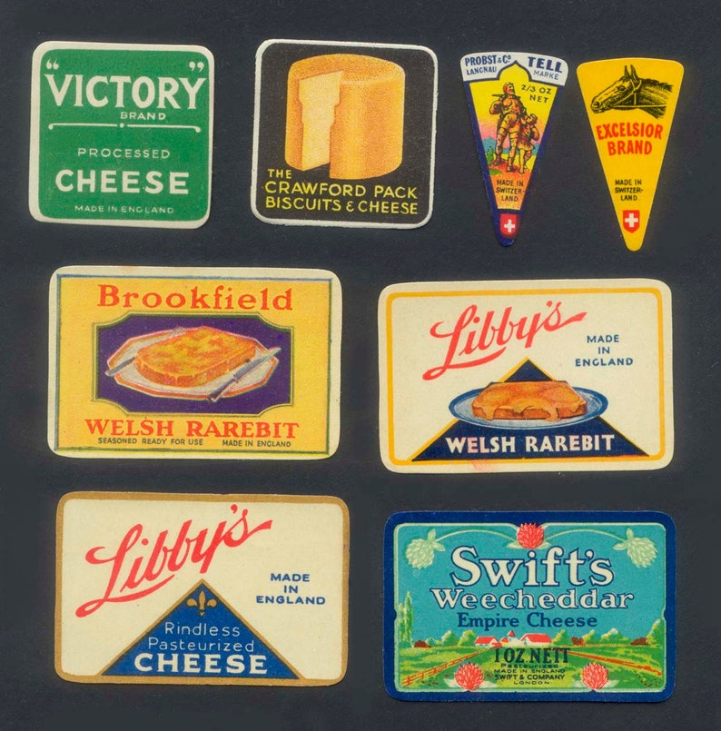 1930's  1950's Vintage Cheese Labels   Decorative image 0