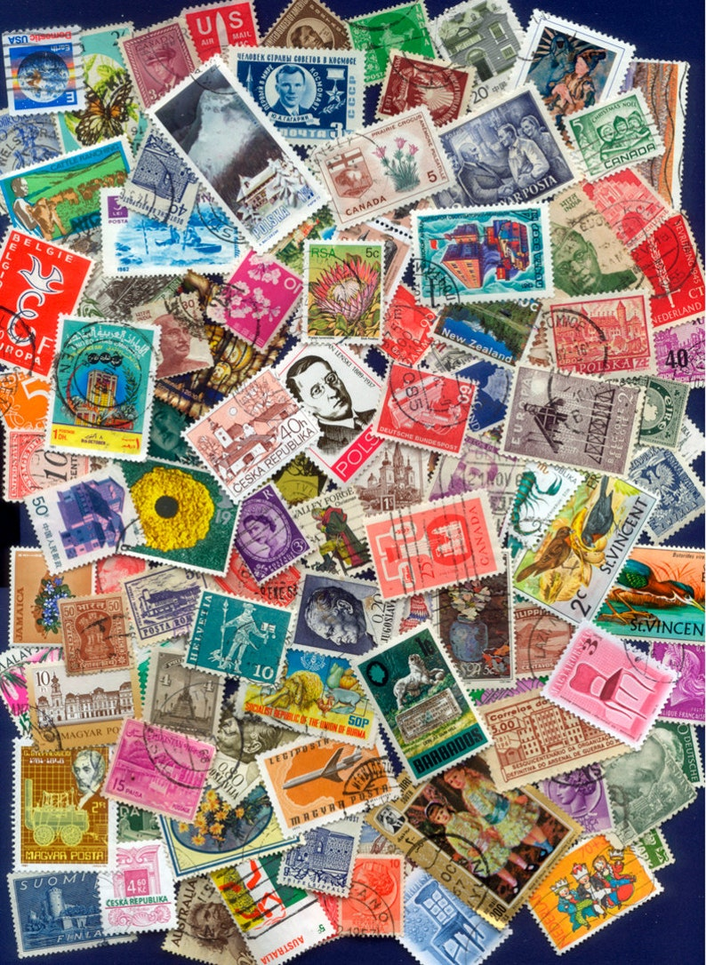 100 Different Worldwide Postage Stamps  Arts and Crafts image 0