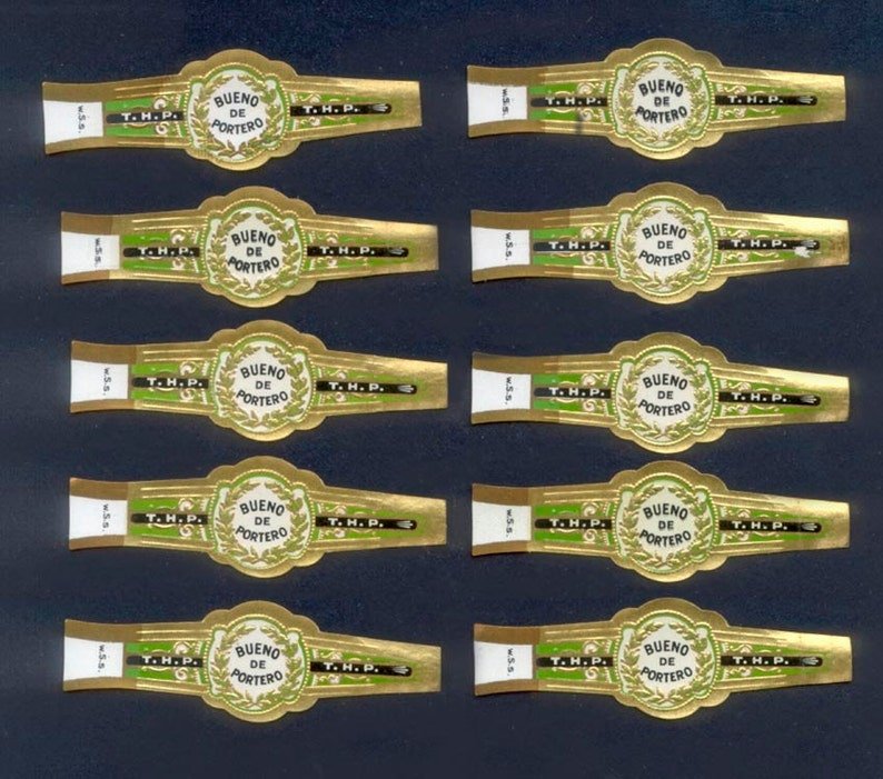 Vintage Cigar Bands  Wonderful Green and Gold Colour  image 0