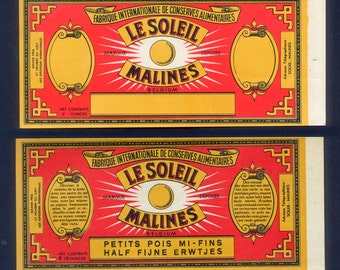 1920's Vintage French Vegetable Can Labels from Belgium / Collectors, Altered Book Addition, Collage Art Embellishment, Decoupage, Glue Book