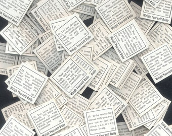 104 Vintage 1930's Weigh Scale Fortune Cards / Complete Set / Christmas Crackers, Mixed Media, Altered Books, Party Favours, Junk Journals