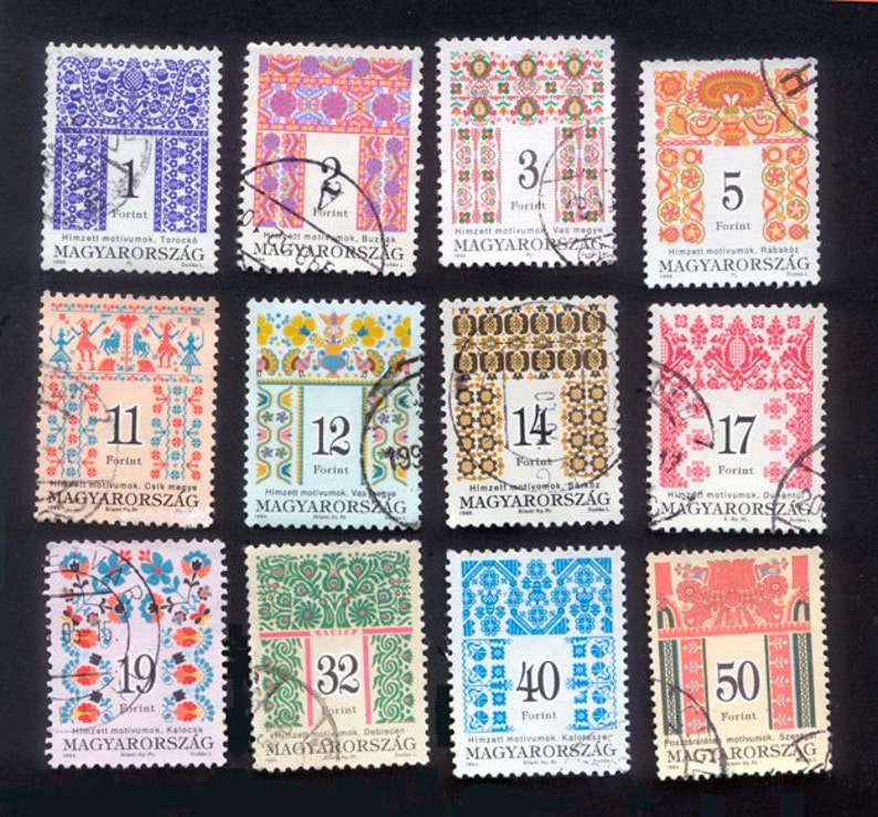 12 Gorgeous Folk Art Postage Stamps from Hungary  Collage image 0