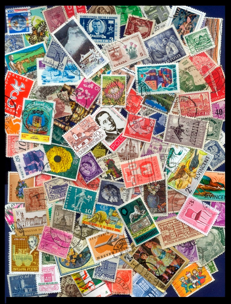 100 Different Worldwide Postage Stamps / Arts and Crafts image 0