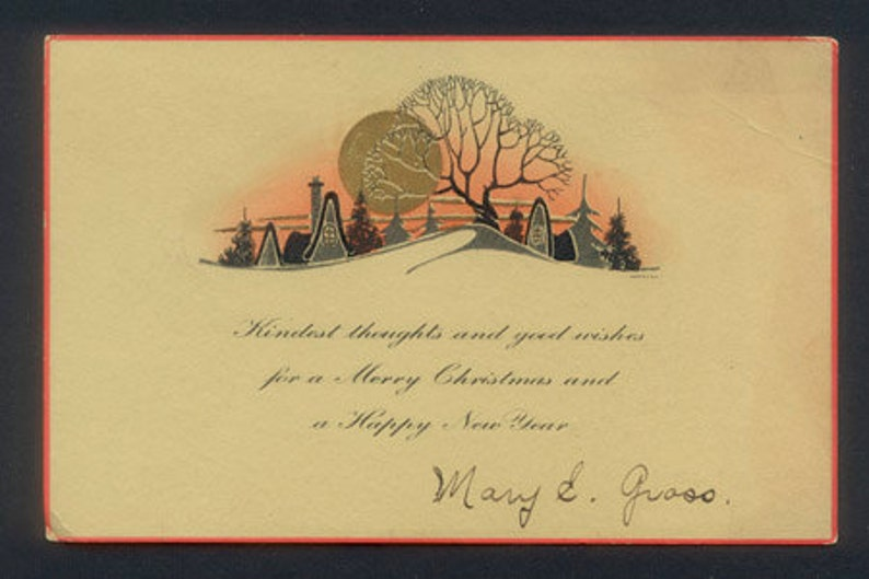 Vintage Merry Christmas and Happy New Year Card / ca 1930 image 0