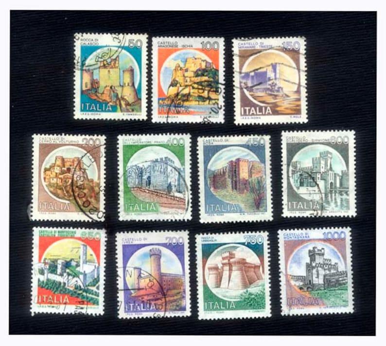 11 Italian Castle Postage Stamps  Scrapbooking Cardmaking image 0