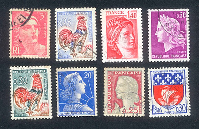 Vintage French Postage Stamps  1960's      Arts and image 0