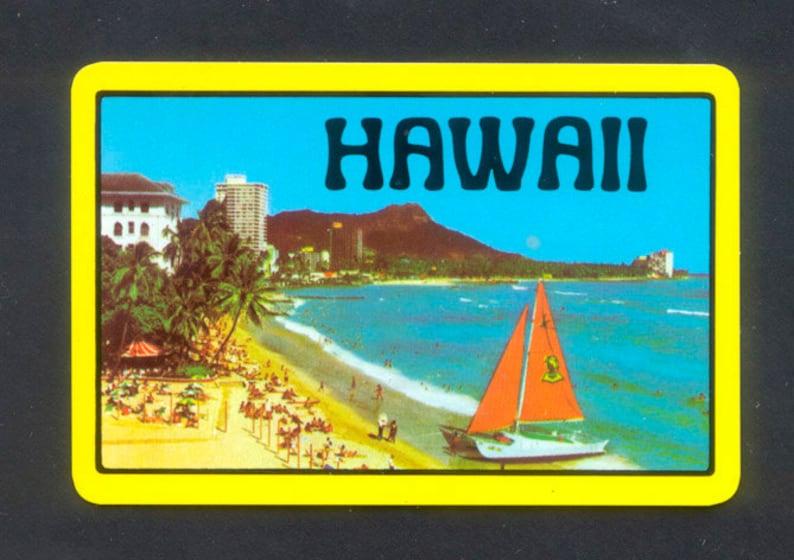 5 Hawaii Playing Cards / Single Swap / Collage Handmade image 0