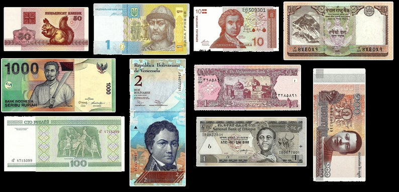 10 Worldwide Banknotes   Currency from Indonesia Belarus image 0