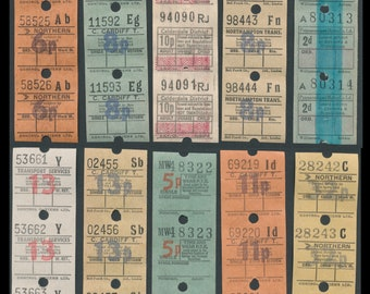 Retro U.K. Bus Tickets / England, Britain /  Perfect in Collage, Artist Trading Cards, Scrapbooks, Junk Journals, Altered Books, Mixed Media