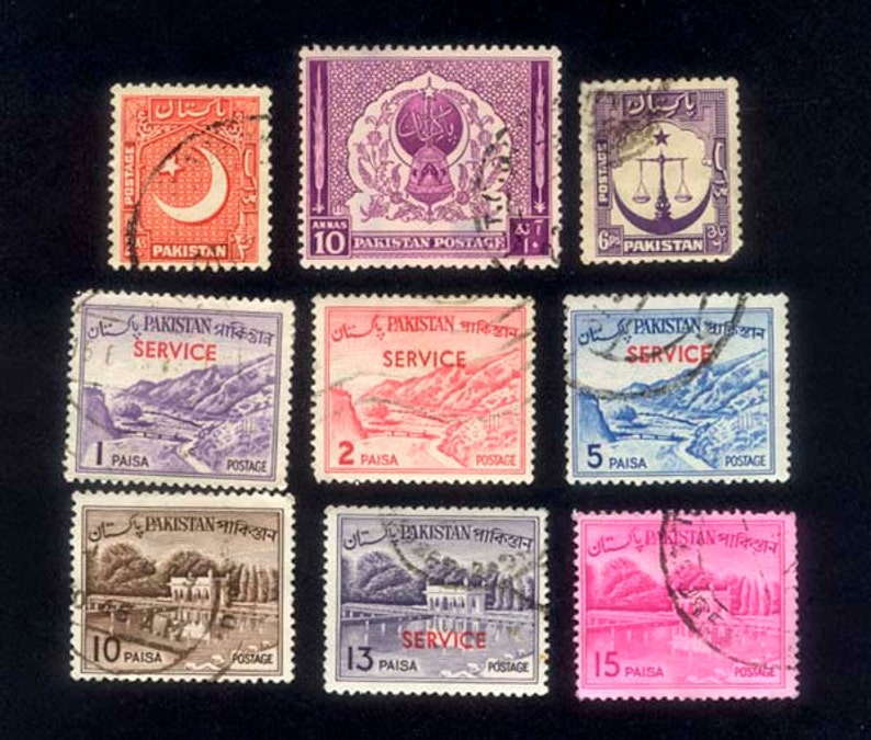 Pakistan  1950's Postage Stamps  Collage Mixed Media image 0