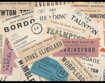 Early 1900's British Railway Luggage Labels / Vintage English Paper Ephemera / Antique Collage Art, Travel Theme Scrapbook, Junk Journal