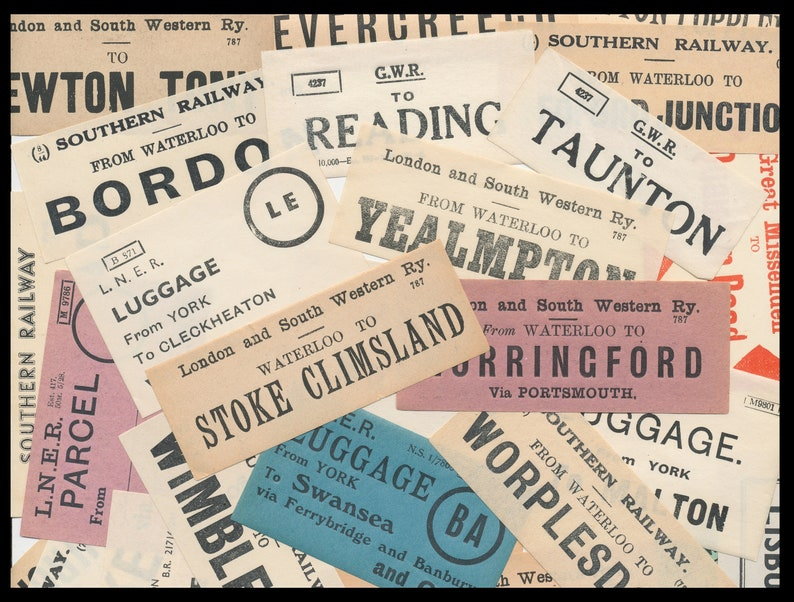 Early 1900's British Railway Luggage Labels / Vintage image 1