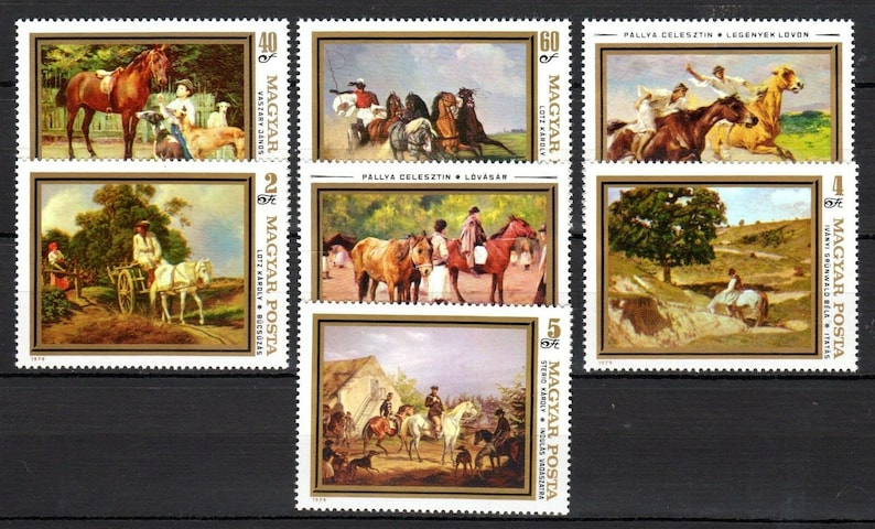 Horses in Famous Paintings / Large Size 1979 Hungarian Postage image 0