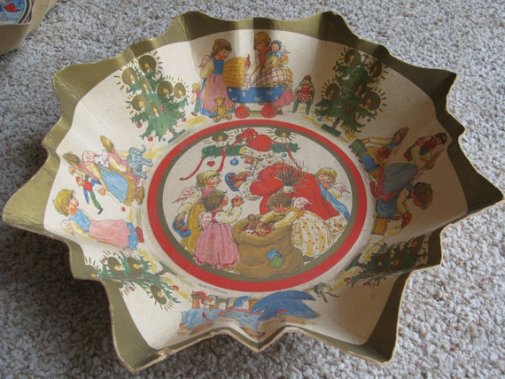 Vintage Christmas Thick Pressed Cardboard Candy Bowl // Made In Germany // Santa and Angels