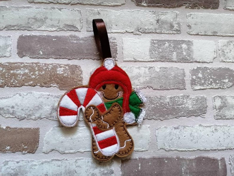 Candy cane felt gingerbread men personalised Christmas tree decoration