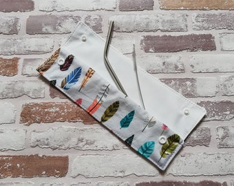 Feather reusable straw pouch, reusable straw case